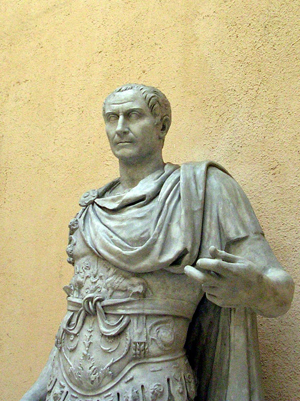 Statue of Julius Caesar as imperator, wearing lorica (cuirass) and paludamentum (short military cloack). Inv. No. MCК 194. Modern copy of the statue from Senator's Palace on the Capitoline Hill, Rome. Fragment. Reign of Trajan (98—117 CE) Rome, Museum of Roman Civilization
