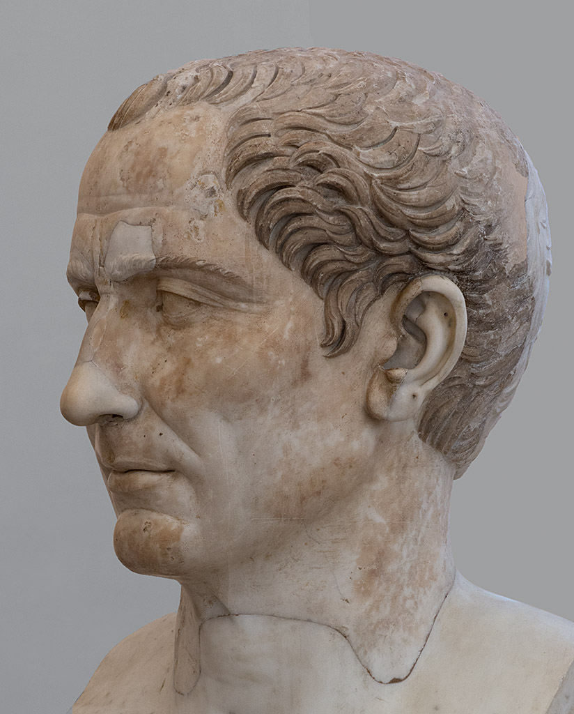 Head of Julius Caesar from the Trajan's forum. Marble. 117—138 CE. Inv. No. 6038. Naples, National Archaeological Museum