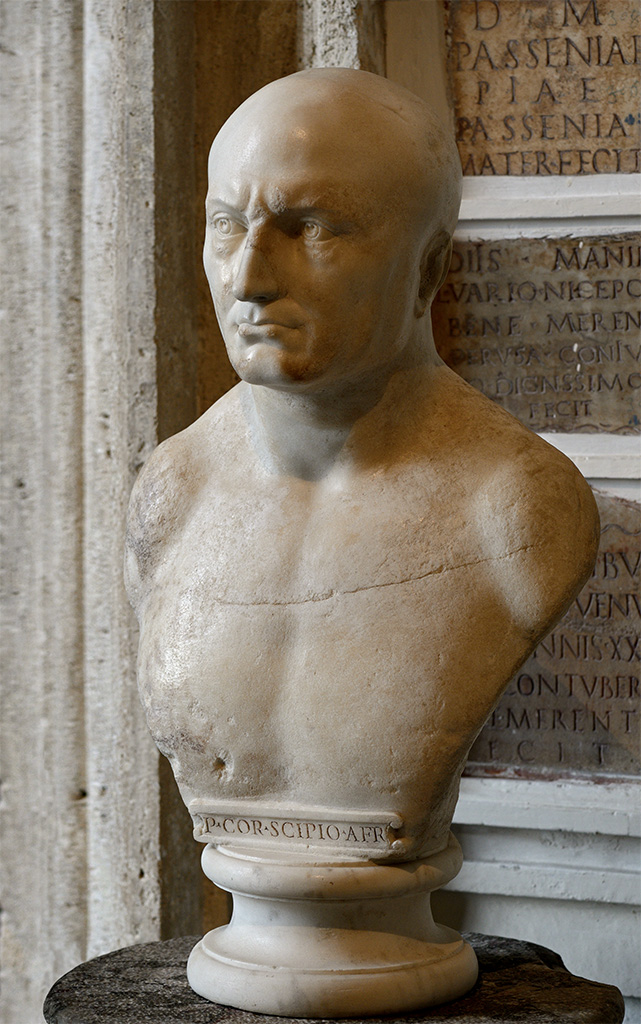 A priest of Isis (so-called Publius Cornelius Scipio Africanus). Marble. Inscription is modern. Inv. No. MC 562. Rome, Capitoline Museums, Palazzo Nuovo, Gallery