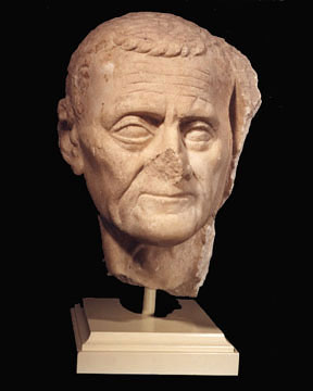 Head of an elderly man. Marble. Mid-1st century BCE. Height 10 1/2 in. (26.7 cm.) PW9101. Royal-Athena Galleries