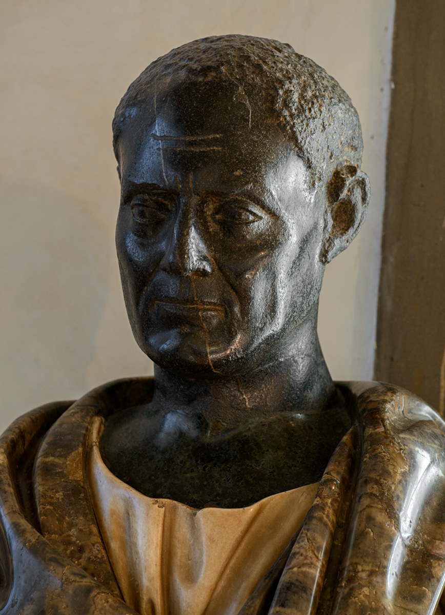 Portrait of an unknown man (so-called Scipio Africanus). Black basalt. 1st century BCE. Inv. No. 378 (inv. 1914). Florence, Gallery of Uffizi