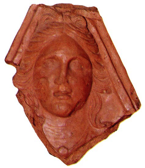 Antefix with the bust of Diana from the temple of Diana at Aricia (Diana Nemorensis) near the Lake of Nemi. 2nd century BCE. Rome, Roman National Museum