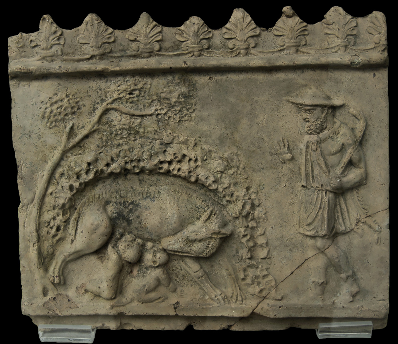 Faustulus finds the she-wolf with the twins Romulus and Remus. Decorative relief, so-called Campana plaque. Clay. 2nd century CE. Inv. No. 8489. Berlin, State Museums, Pergamon Museum