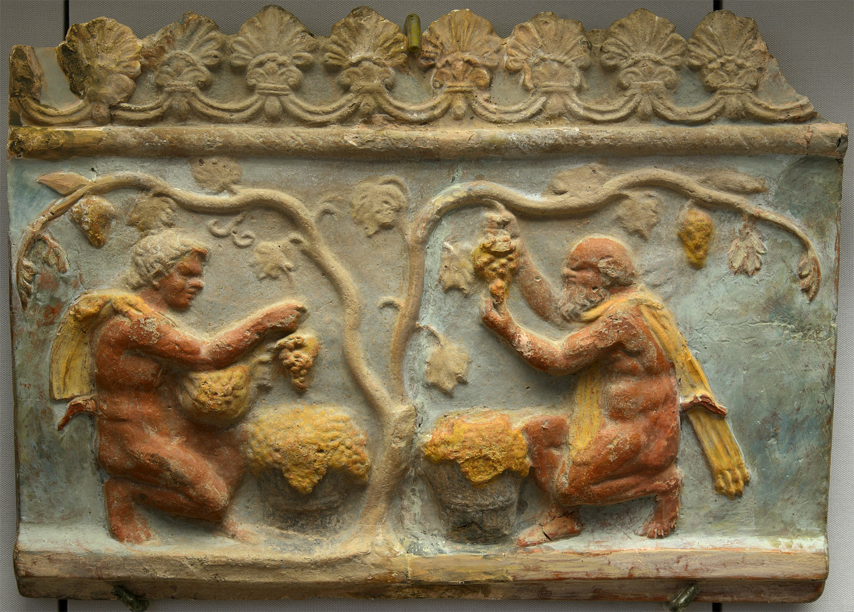 Campana plaque with vintage scene. Terracotta, paint. First half of 1st cent CE. Inv. No. II 1a 195. Moscow, the Pushkin Museum of Fine Arts