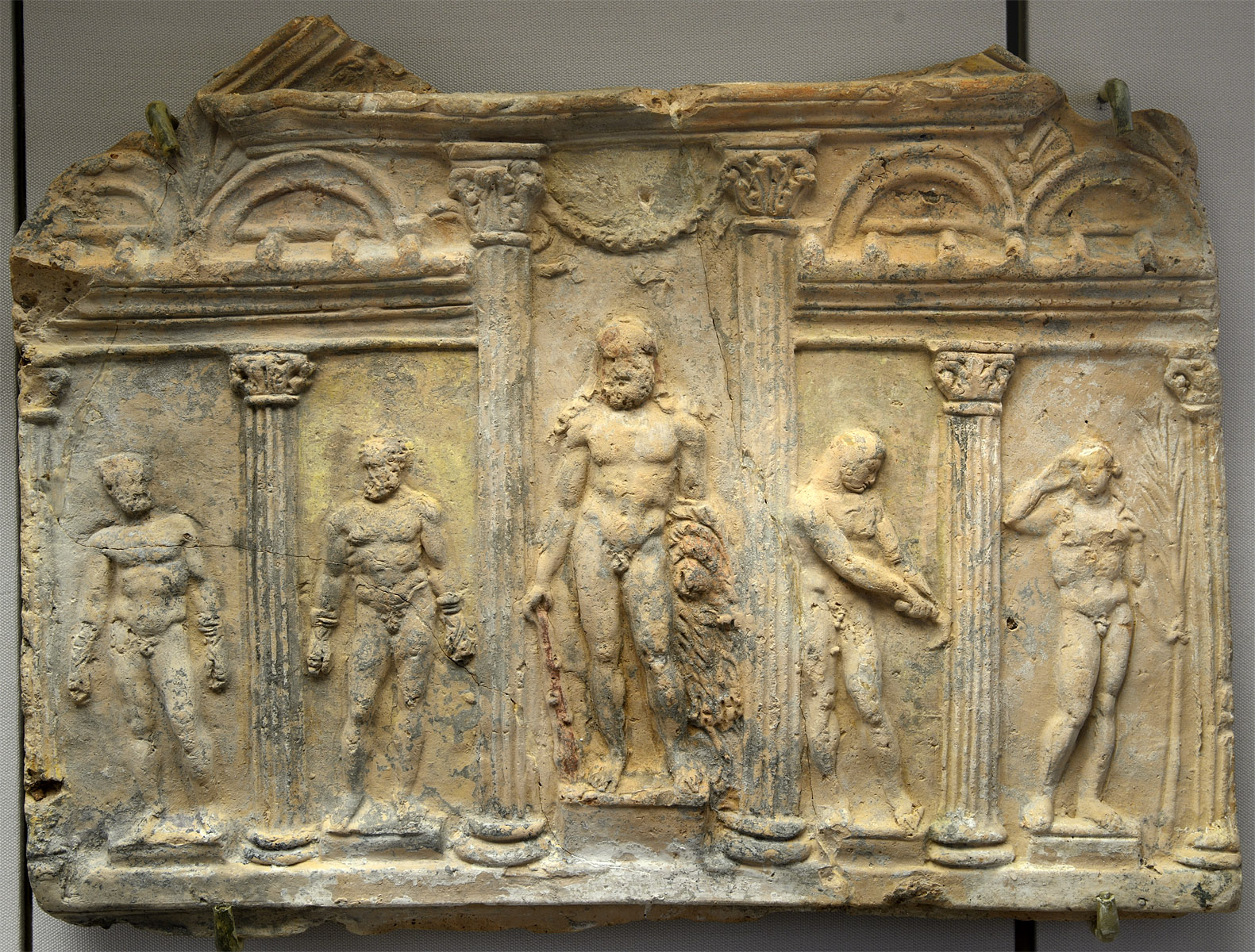 Campana plaque showing palaestra. Terracotta, traces of paint. 1st cent CE. Inv. No. AT 3700. Moscow, the Pushkin Museum of Fine Arts