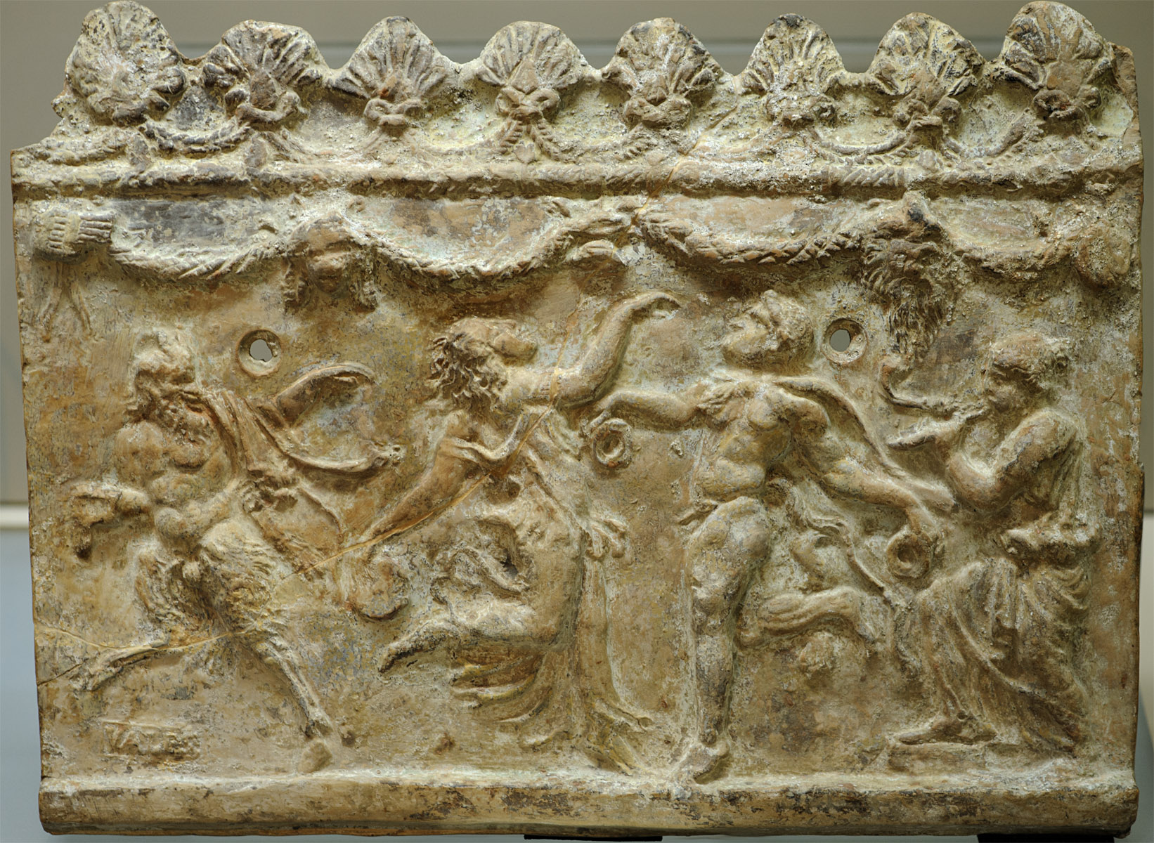 Decorative relief, the so-called Campana plaque with relief representation of dionysiac scene. Terracotta. 1st cent BCE — 1st cent. CE. Inv. No. A 0004.92. Milan, Civic Archaeological Museum