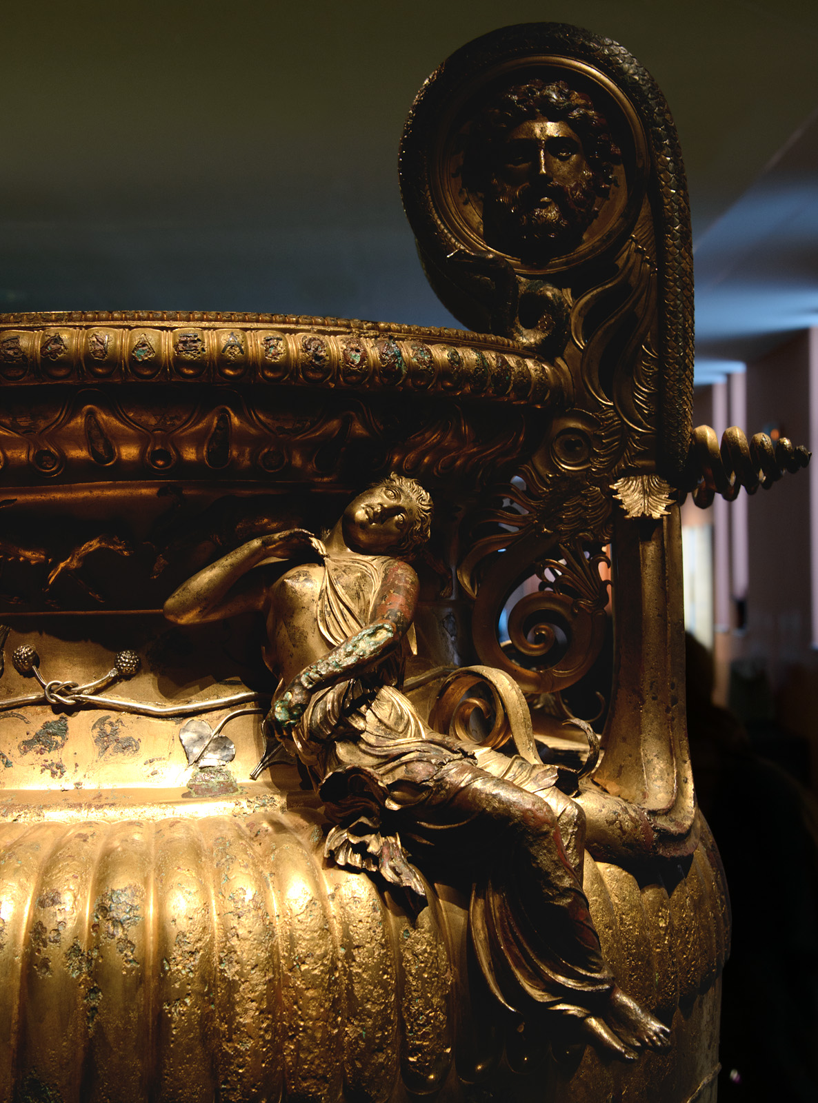 Extatic Maenad. Close up of The Derveni krater. Bronze. 330—320 BCE. Inv. No. B1. Thessaloniki, Archaeological Museum