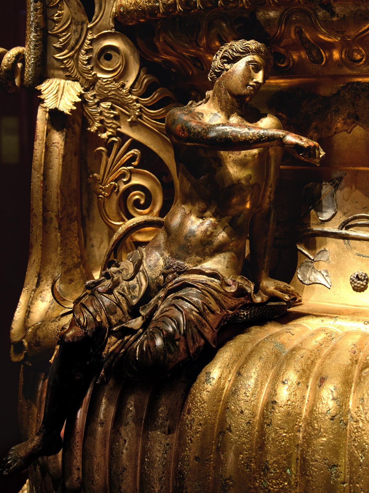 Dionysus. Close up of The Derveni krater. Bronze. 330—320 BCE. Inv. No. B1. Thessaloniki, Archaeological Museum