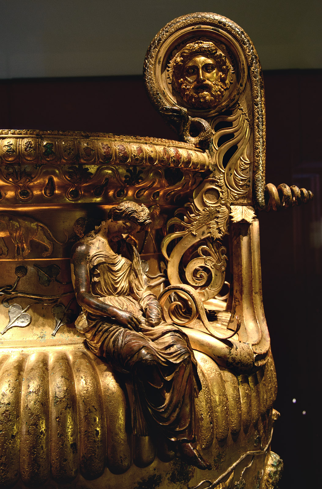 Sleeping Maenad. Close up of The Derveni krater. Bronze. 330—320 BCE. Inv. No. B1. Thessaloniki, Archaeological Museum