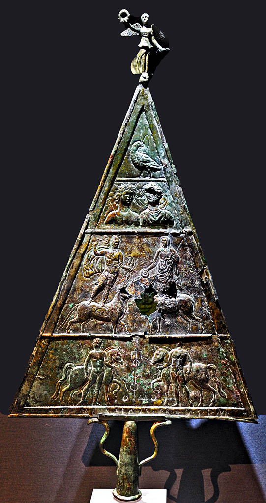 Double-sided triangular votive bronze tablet dedicated to Jupiter Dolichenus. Bronze, chasing. Inv. No. M4. Vienna, Museum of Art History