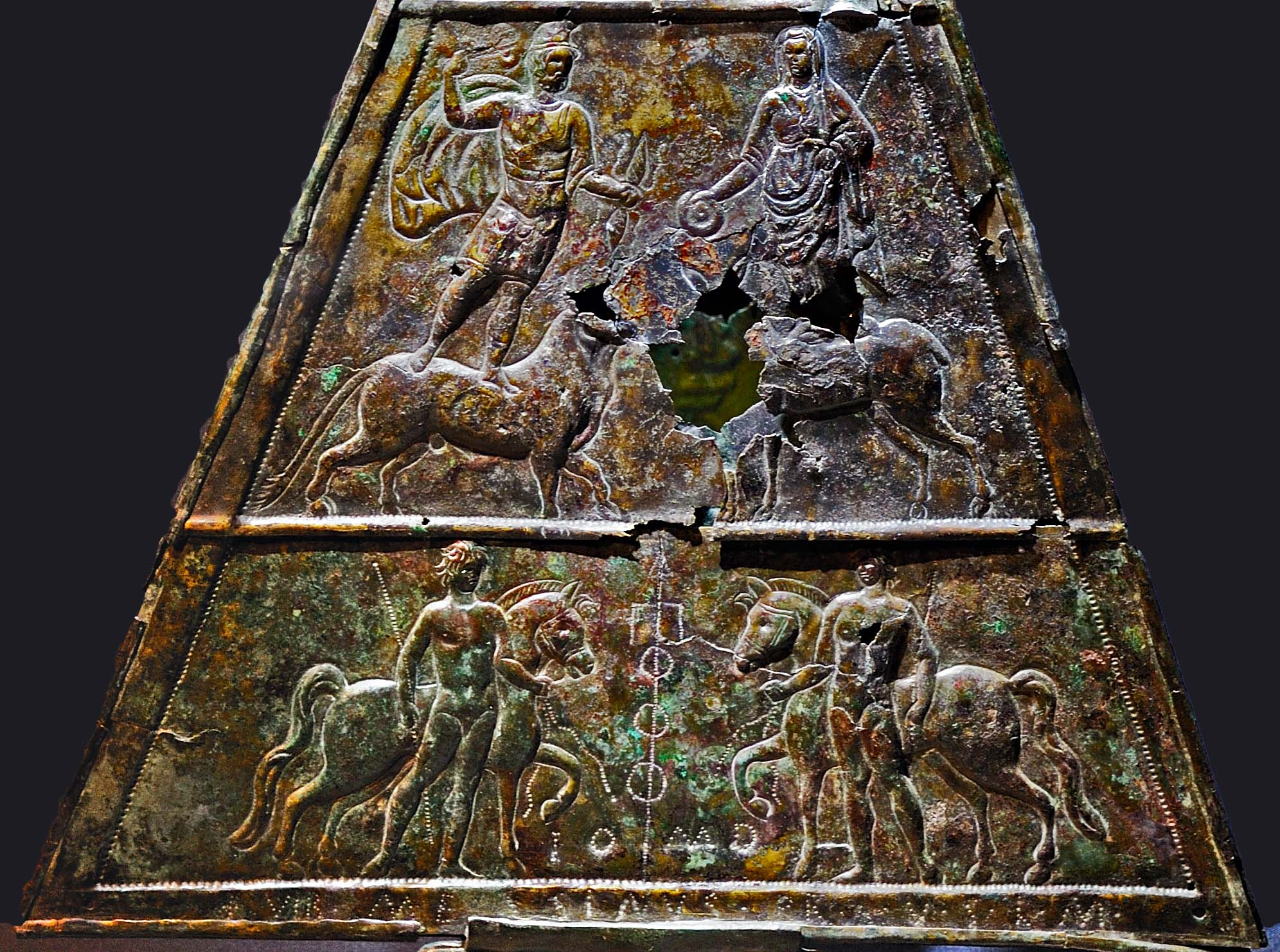 Double-sided triangular votive bronze tablet dedicated to Jupiter Dolichenus (inscription, 1st and 2nd registers). Bronze, chasing. Inv. No. M4. Vienna, Museum of Art History