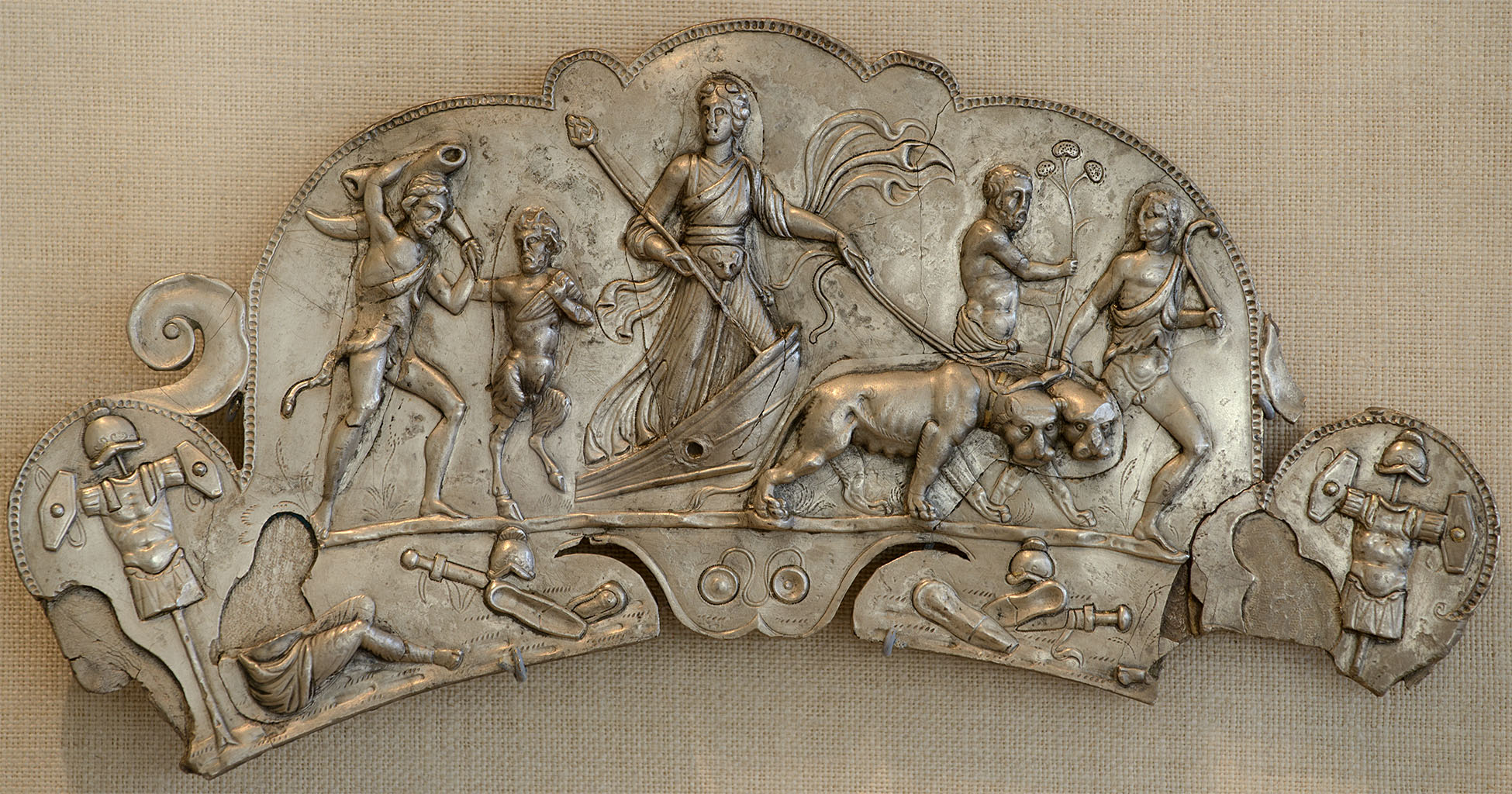 Handle of dish with depicting of the Indian triumph of Bacchus. Silver, gilding. Early 3rd century CE.  Inv. No. 54.11.8. New York, the Metropolitan Museum of Art