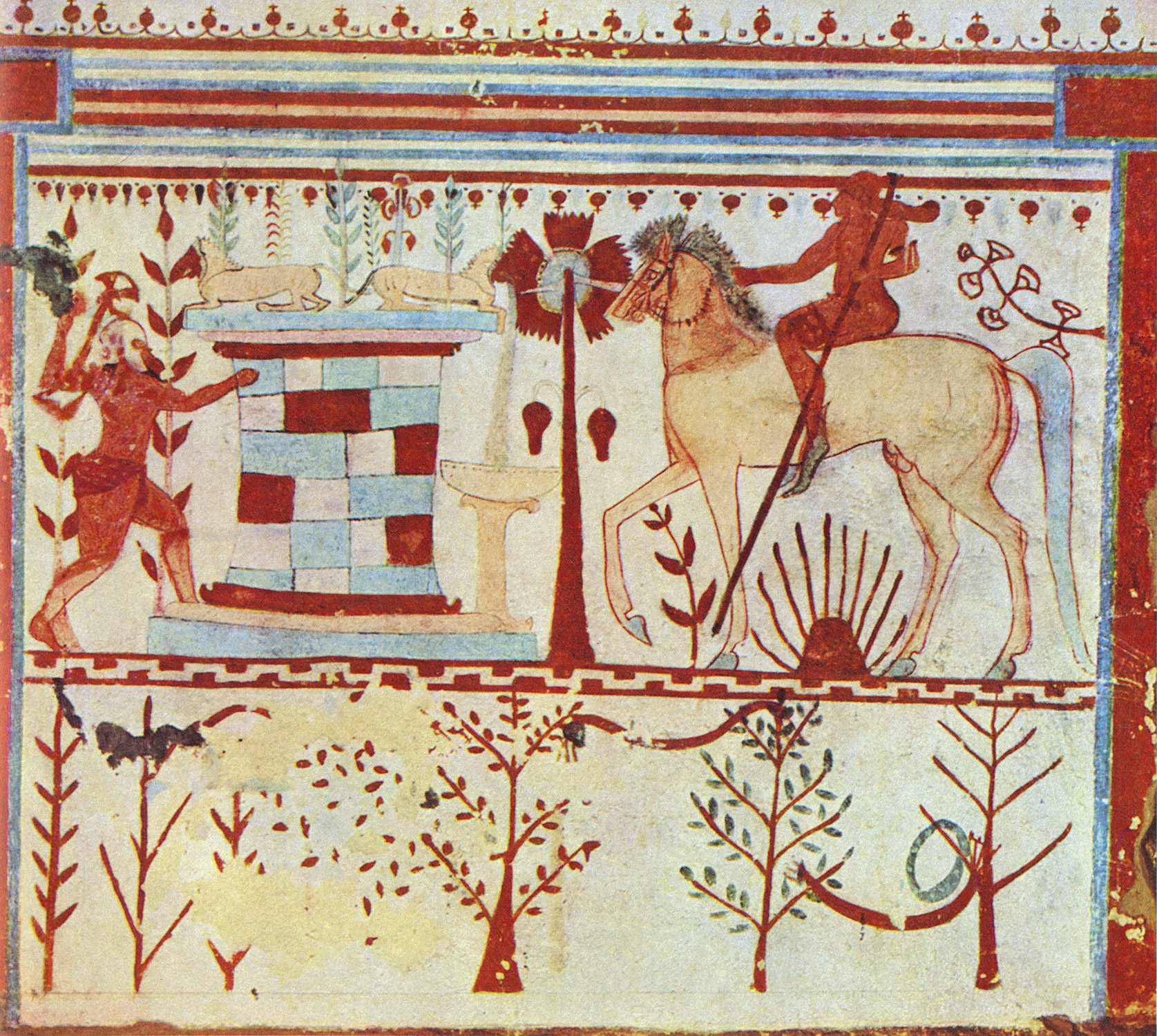 Achilles in ambush. Mid-6th century BCE. Tarquinia, Tomb of the Bulls