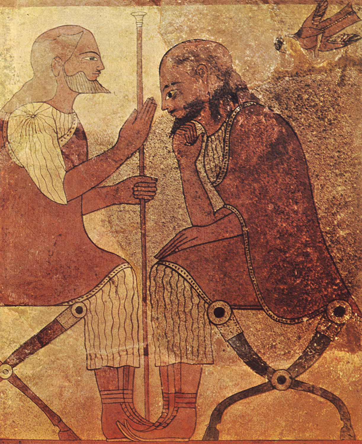 """Two sitting old man. """"Campan's tablets"""" from Caere (Cerveteri). Third quarter of the 6th century BCE. Paris, Louvre Museum"""