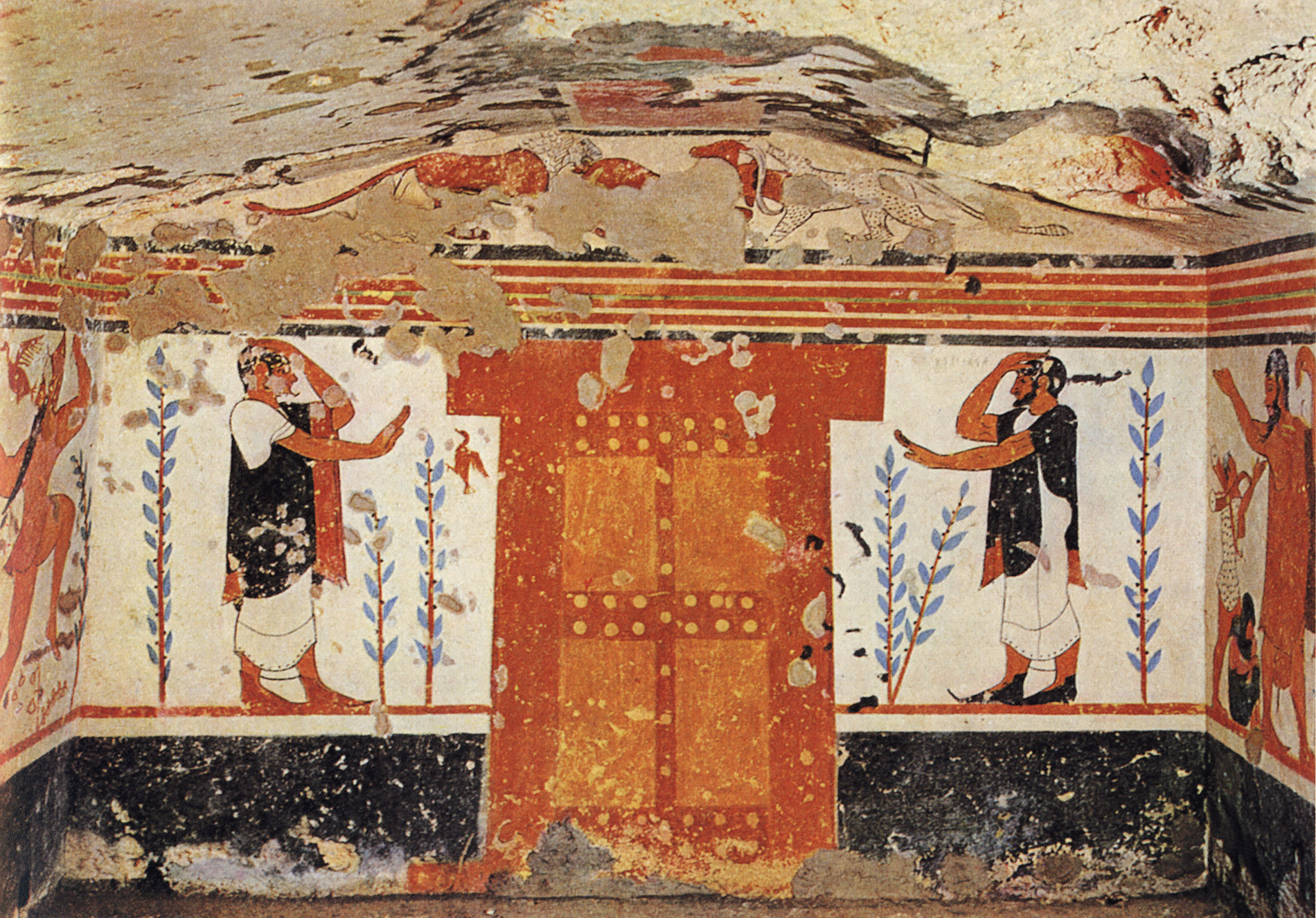 Central composition of the Augurs tomb in Tarquinia. 6th century BCE. Tarquinia, Tomb of the Augurs