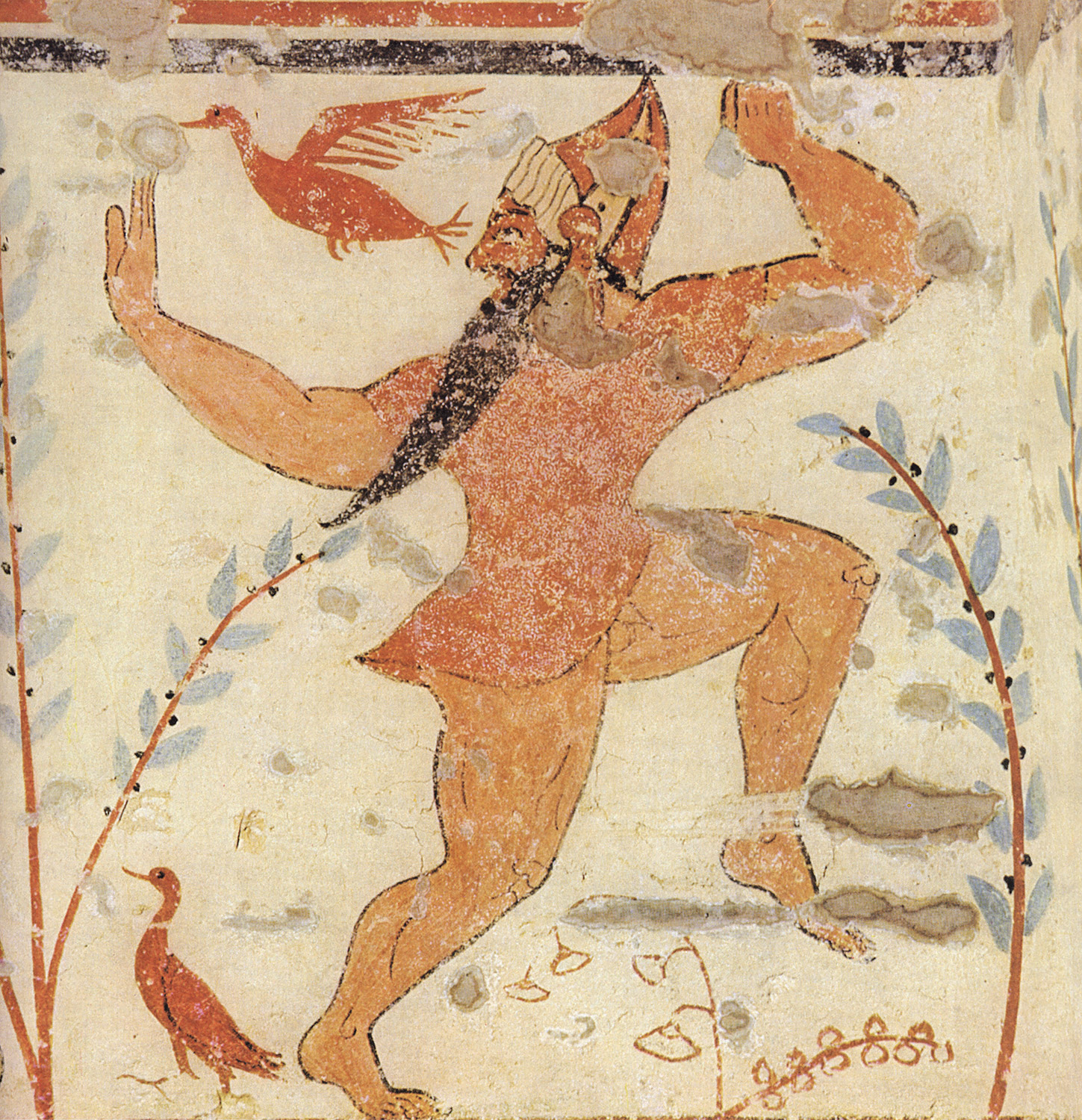 Escape of man wearing mask. 6th century BCE. Tarquinia, Tomb of the Augurs
