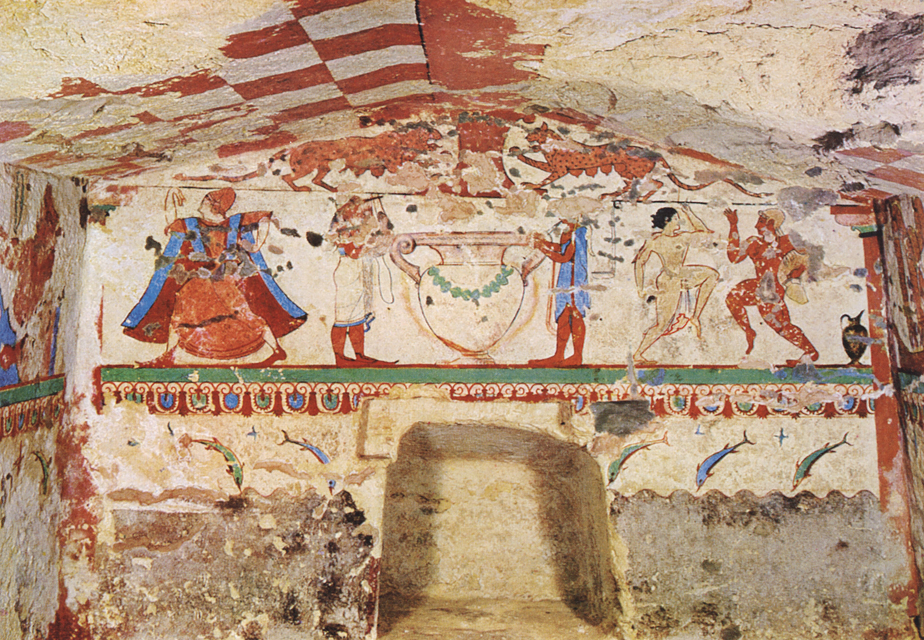 Central composition of the Lionesses Tomb in Tarquinia. 6th century BCE. Tarquinia, Tomb of the Lionesses