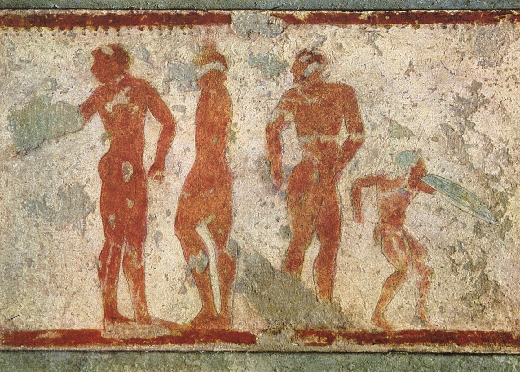 Athletes and dance warrior. 5th century BCE. Tarquinia, Tomb of the Chariots