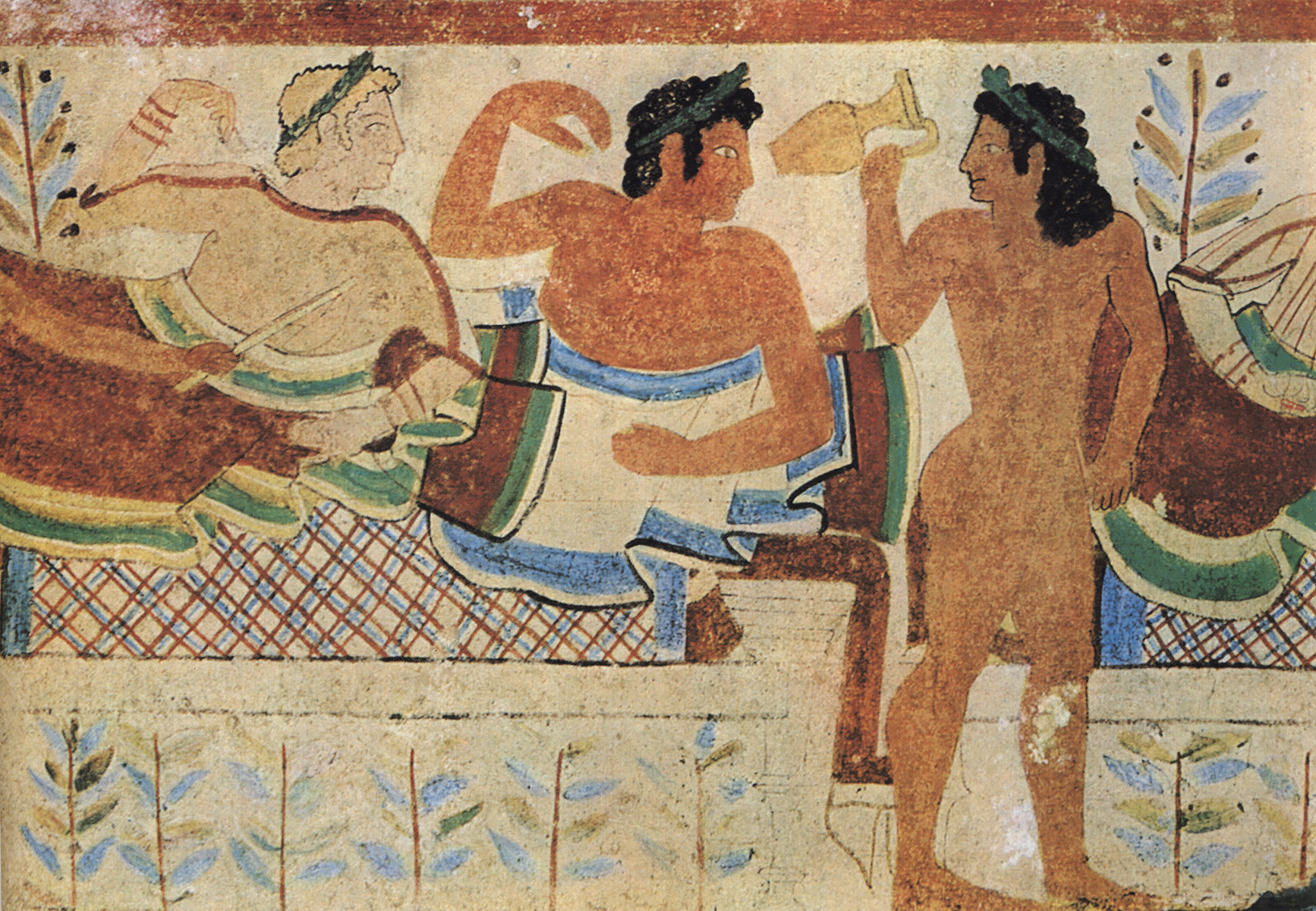 Feast scene. Detail. 5th century BCE. Tarquinia, Tomb of the Leopards