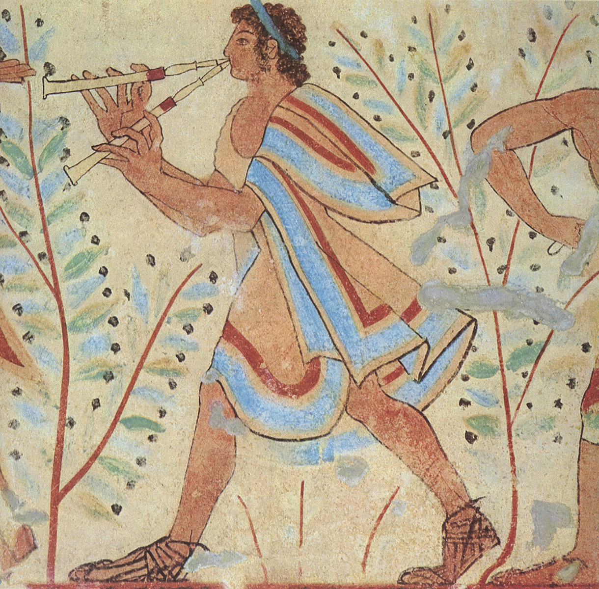 Aulos player. 5th century BCE. Tarquinia, Tomb of the Leopards