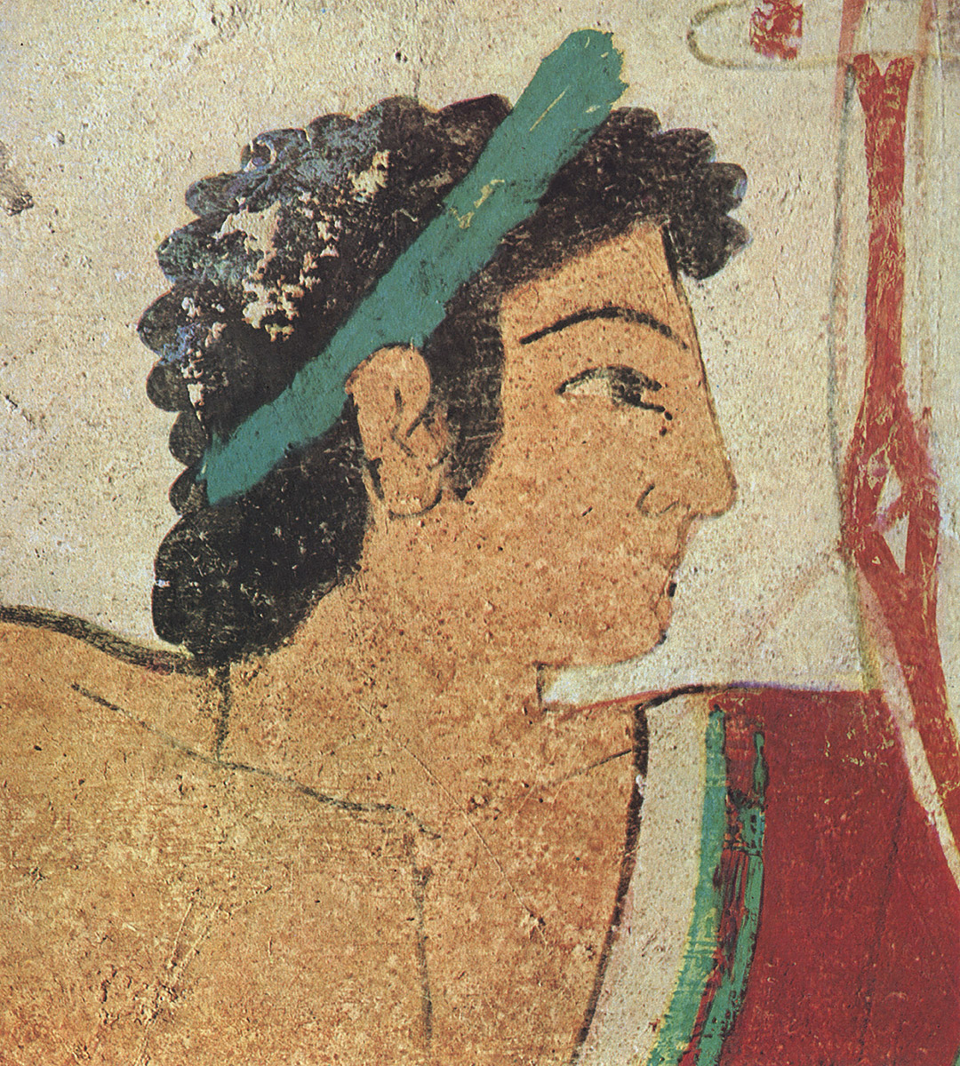 Lyre player. Detail. 5th century BCE. Tarquinia, Tomb of the Leopards