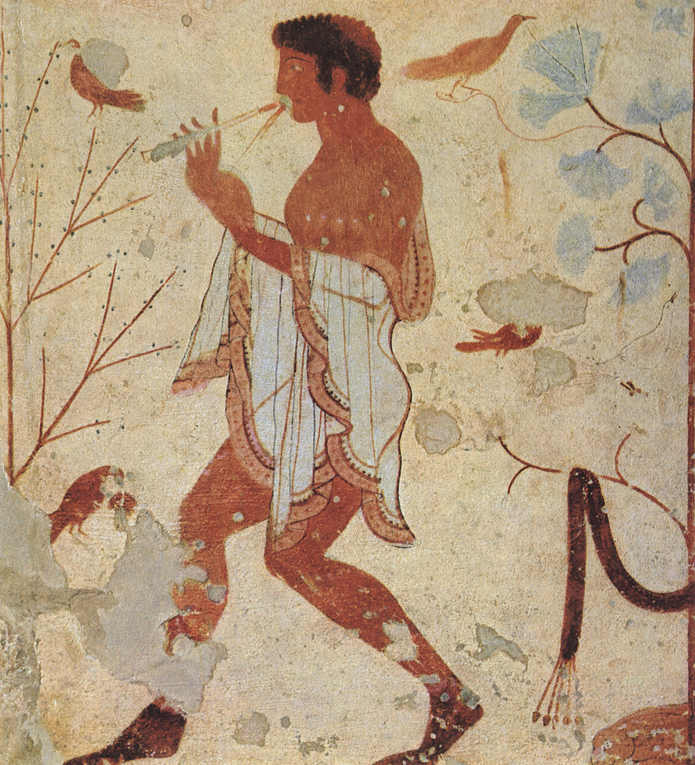Flutist, dancing among the birds. 5th century BCE. Tarquinia, Tomb of the Triclinium