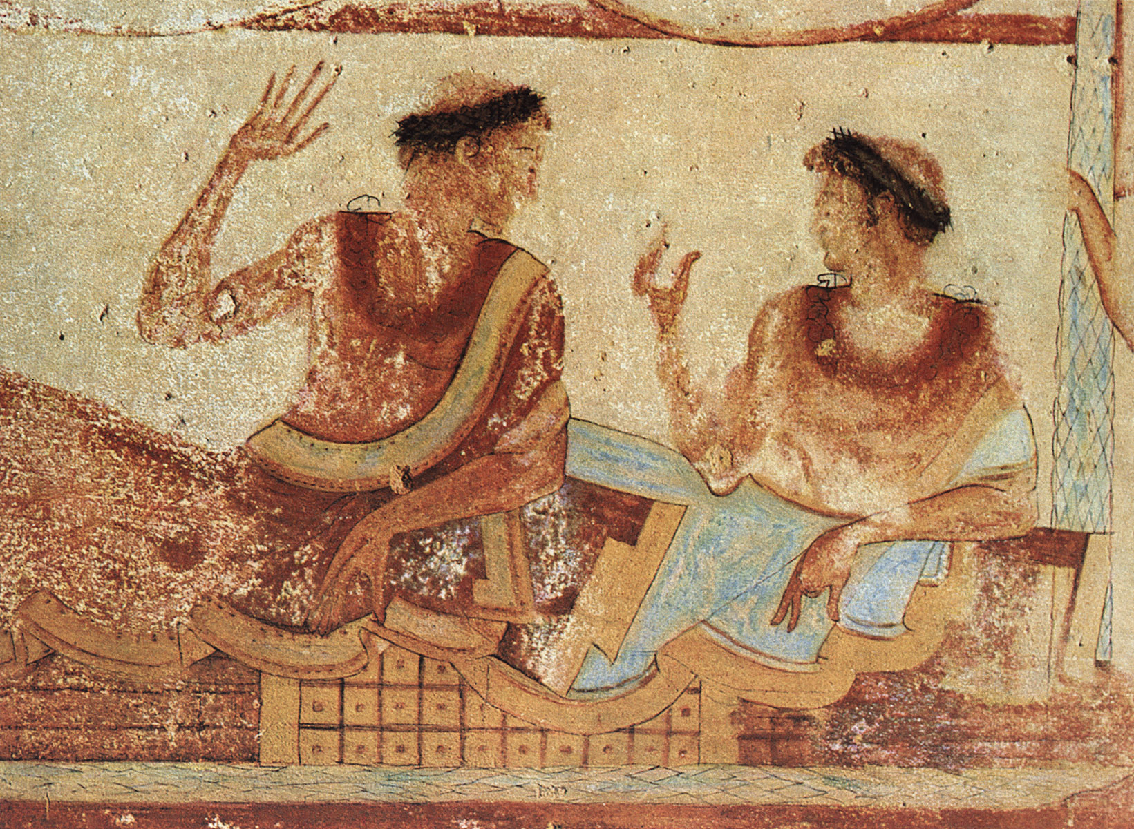 Scene of feast. 5th century BCE. Tarquinia, Tomb of the Funerary Bed