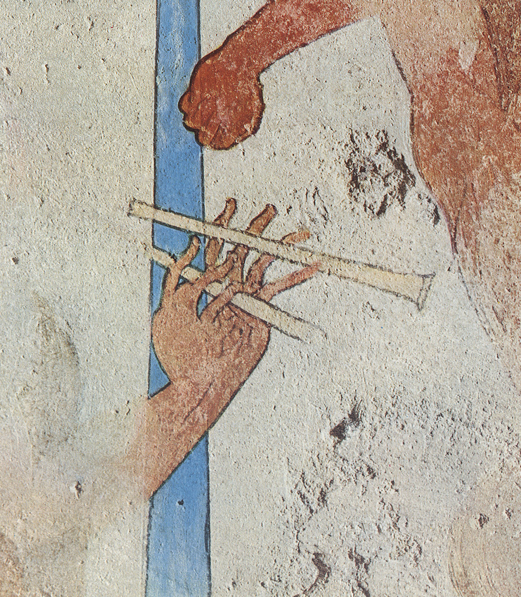 Hands of flutist. Detail. 5th century BCE. Tarquinia, Tomb of the Funerary Bed