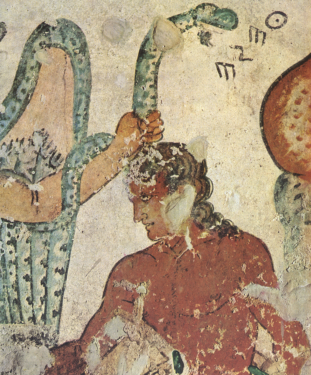 Demon threatening Theseus. Detail. 3rd—2nd centuries BCE. Tarquinia, Tomb of the Orcus