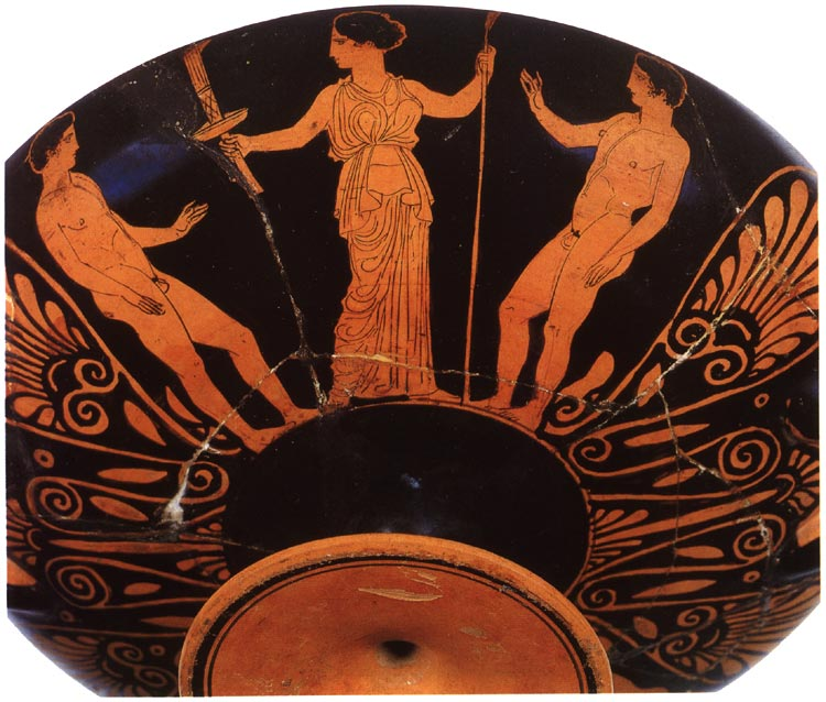 Two athletes and a woman. Red-figure kylix. Attic. By the London Painter E106. Clay. Late 5th century BCE.  Inv. No. Б. 4526. Saint Petersburg, The State Hermitage Museum