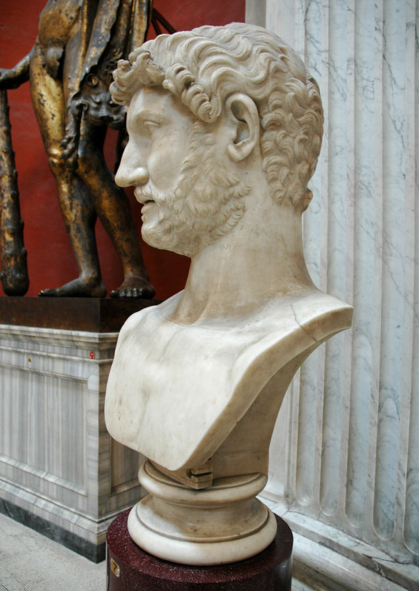 Colossal head of Hadrian. Marble. 130s CE. Inv. No. 253. Rome, Vatican Museums, Pius-Clementine Museum, Round Room, 7