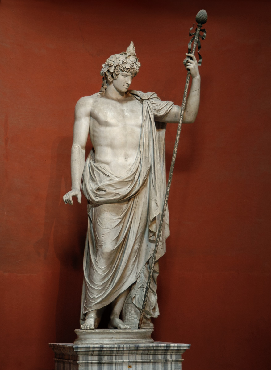 Colossal statue of Antinous as Dionysos—Osiris. Marble. 130s CE. Inv. No. 256. Rome, Vatican Museums, Pius-Clementine Museum, Round Room, 4