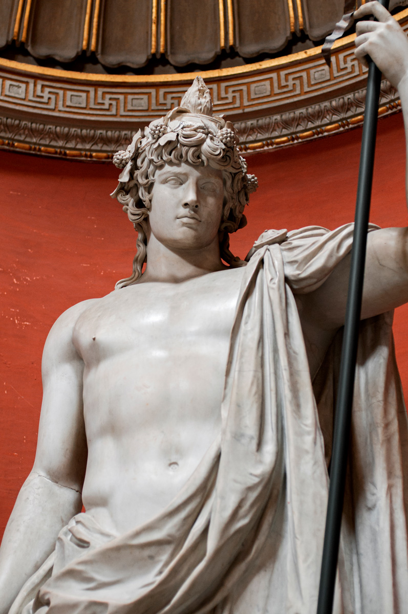 Colossal statue Antinous as Dionysos—Osiris. Detail. Marble. 130s CE. Inv. No. 256. Rome, Vatican Museums, Pius-Clementine Museum, Round Room, 4