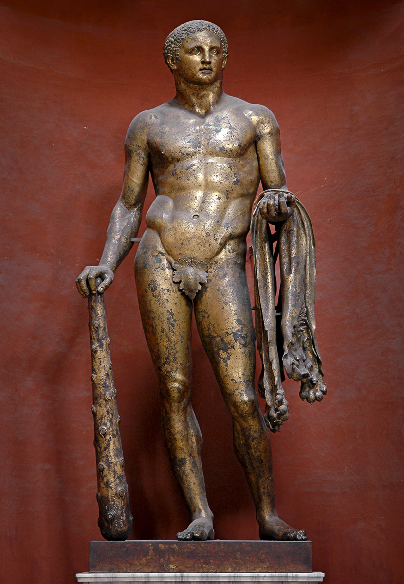 Colossal statue of Hercules. Gilded bronze. Late 2nd century. Inv. No. 252. Rome, Vatican Museums, Pius-Clementine Museum, Round Room, 8