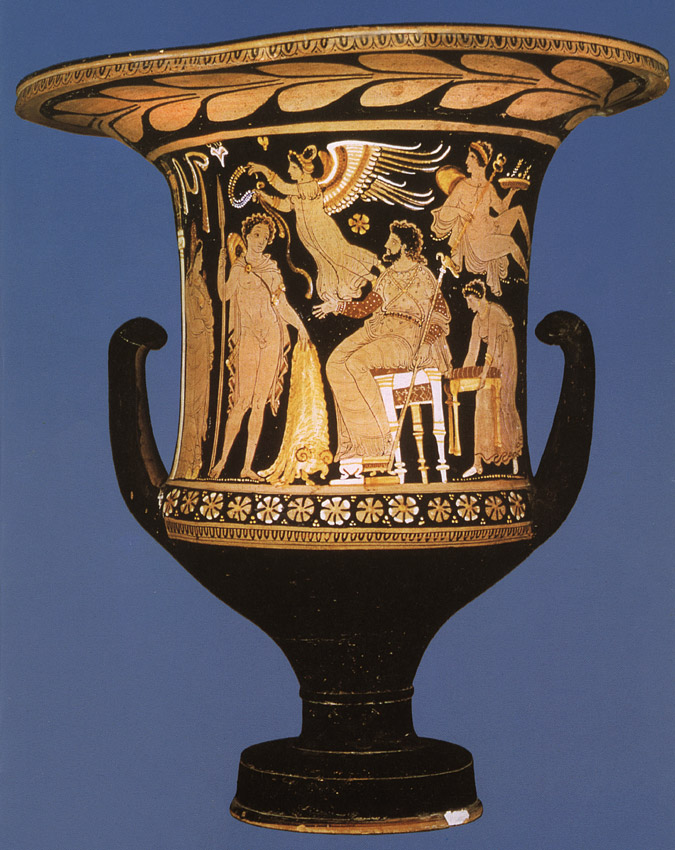 Jason bringing the Golden Fleece to Pelias, the king of Iolcus. Red-figure crater. Apulia. Clay. 350—340 BCE. Paris, Louvre Museum