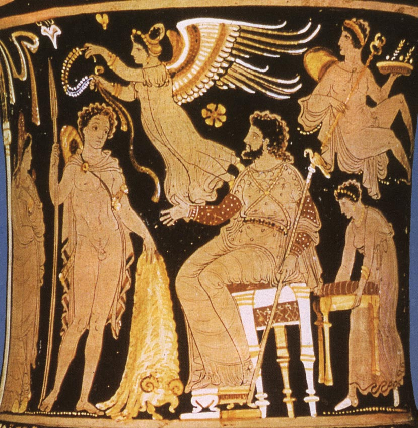 Jason bringing the Golden Fleece to Pelias, the king of Iolcus. Detail. Red-figure crater. Apulia. Clay. 350—340 BCE. Paris, Louvre Museum