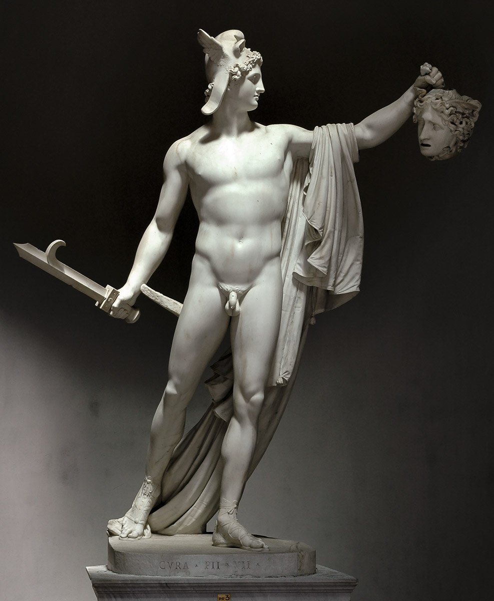 Perseus with the head of Medusa. Antonio Canova (1757—1822). Marble. 1801. Inv. No. 969. Rome, Vatican Museums, Pius-Clementine Museum, Octagonal Court, Cabinet of Canova (Perseus), 3