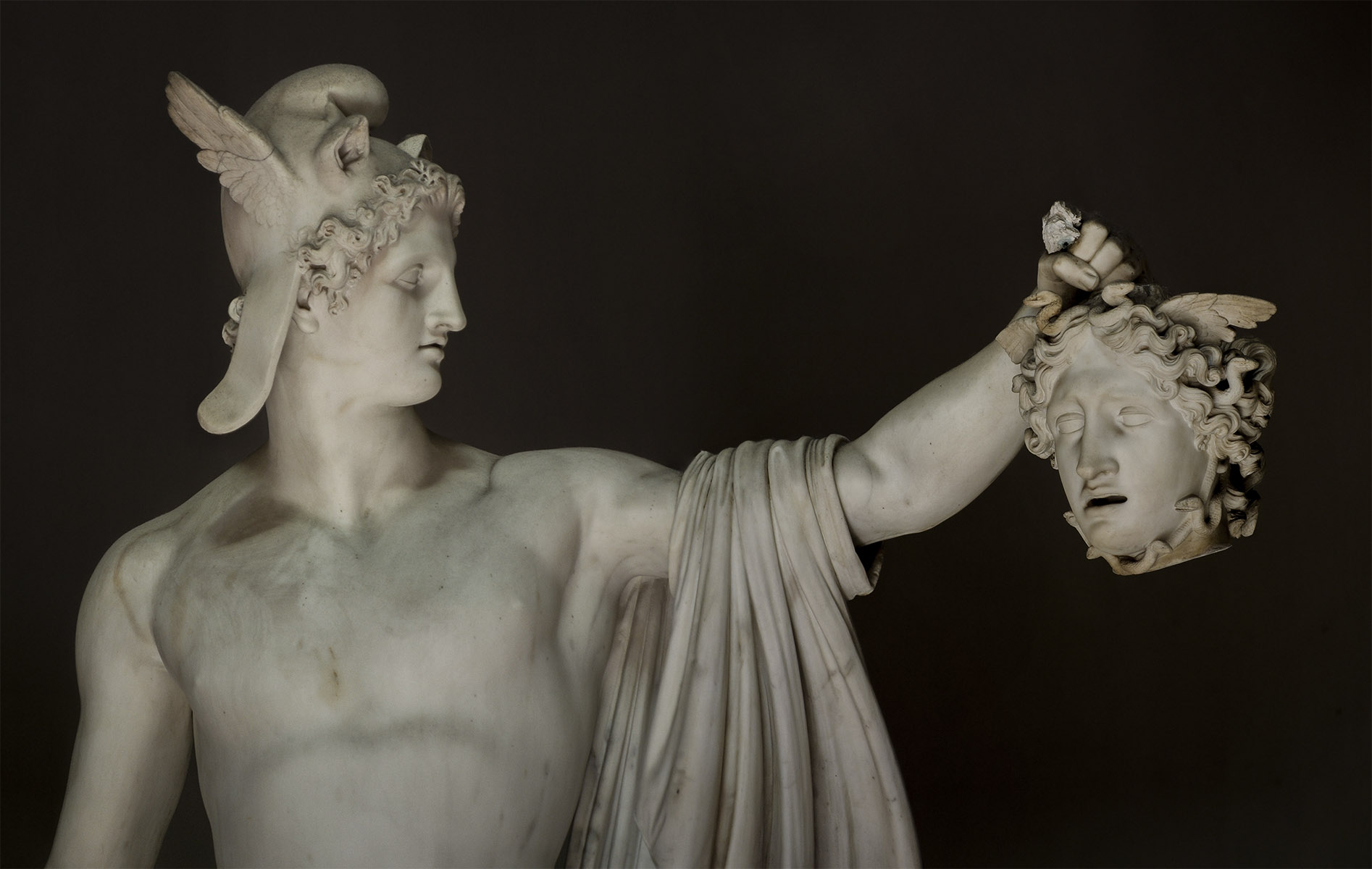 Perseus with the head of Medusa. Detail. Antonio Canova (1757—1822). Marble. 1801. Inv. No. 969. Rome, Vatican Museums, Pius-Clementine Museum, Octagonal Court, Cabinet of Canova (Perseus), 3