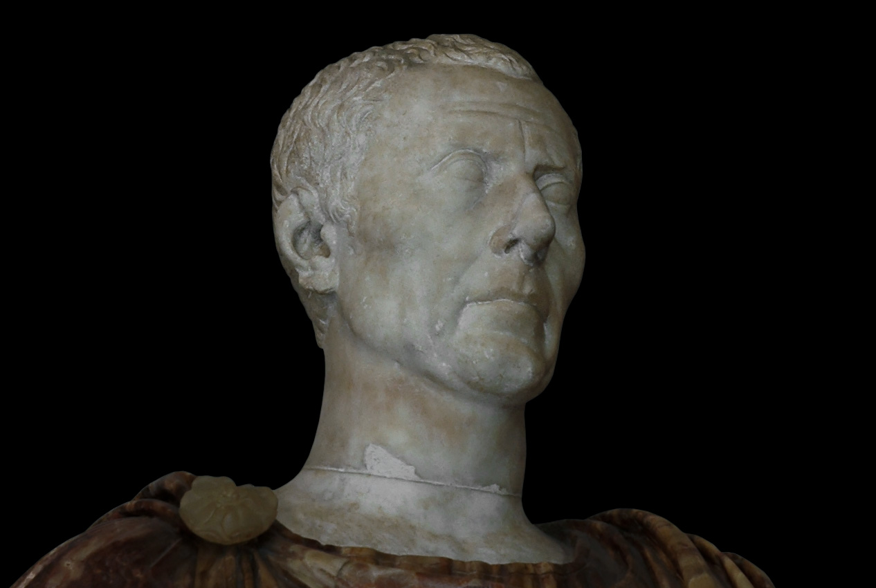 Male portrait. (Julius Caesar?) Marble. 40—30 BCE. Inv. No. MC412. Rome, Capitoline Museums, Palazzo Nuovo, Hall of the Emperors