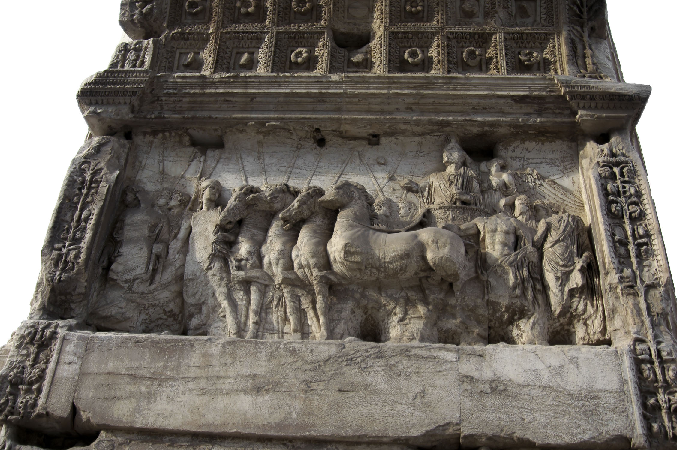 Triumphal procession of Titus. Relief on the northern side of the arch of Titus. 81—96 CE. Rome, Roman Forum, Arch of Titus