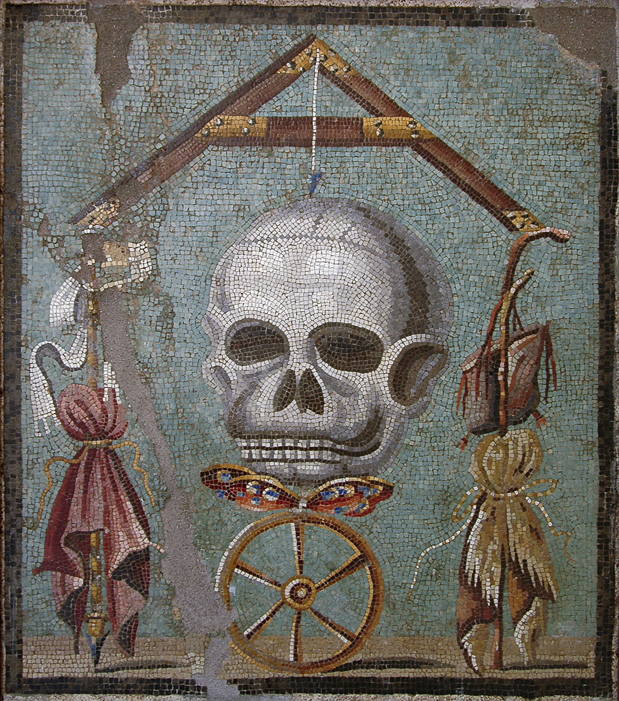 """Memento mori."" Mosaic from Pompeii (House cum workshop I, 5, 2, triclinium). 30 BCE — 14 CE. Inv. No. 109982. Naples, National Archaeological Museum"