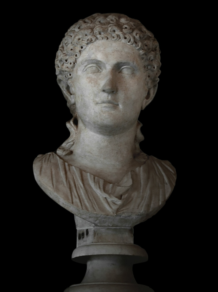 Female portrait. Marble. Second half of the 1st century.  Inv. No. MC425. Rome, Capitoline Museums, Palazzo Nuovo, Hall of the Emperors