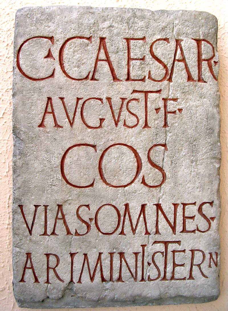 Inscription in honour of Gaius Caesar, adoptive son of Augustus. CIL. IX. 366 = ILS. 133. Travertine? 1 CE. Copy.  Inv. No. MCR 283. Rome, Museum of Roman Civilization