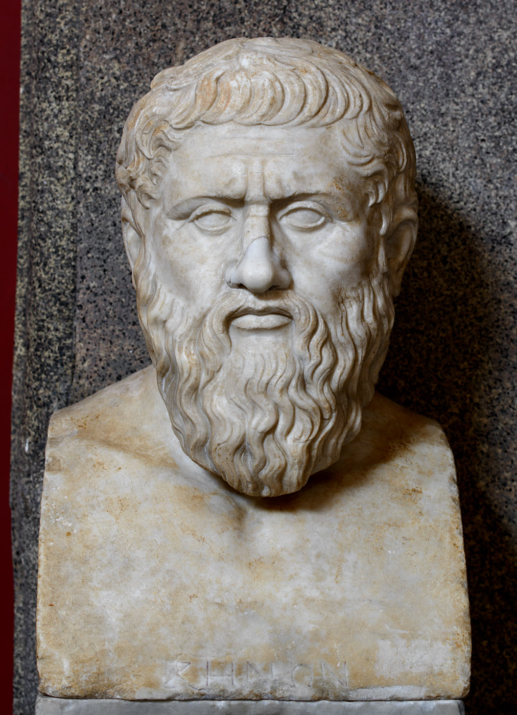 """Herm of Plato. Roman copy from a Greek statue of the last quarter of the 4th century BCE. The inscription """"ΖΗΝΩΝ"""" is a mistake and modern addition. Inv. No. 305. Rome, Vatican Museums, Pius-Clementine Museum, Room of the Muses, 11"""