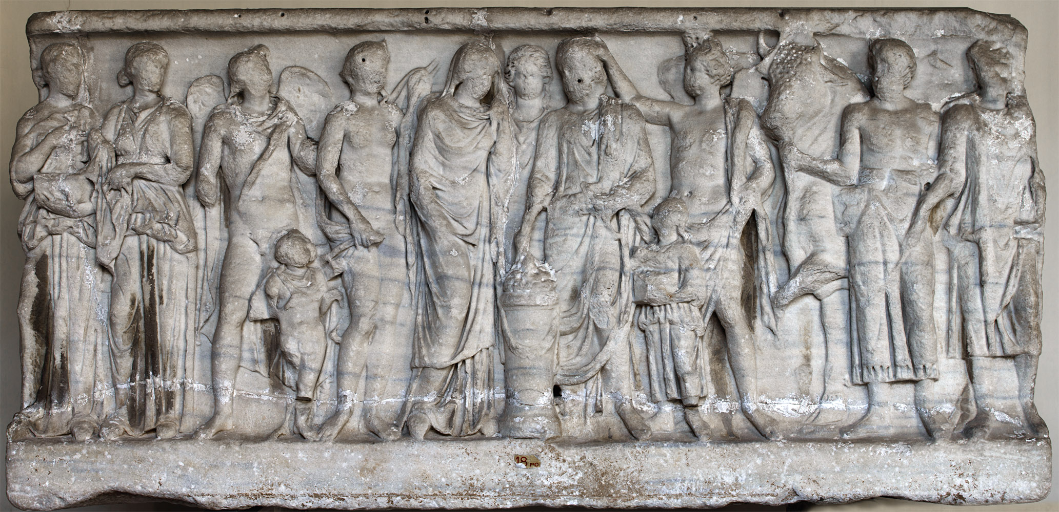 Sarcophagus of the spouses (so-called wedding or marriage sarcophagus) — the front panel. Marble. Antonine age, ca. 180 CE. Inv. No. 1089. Rome, Vatican Museums, Pius-Clementine Museum, Octagonal Court, West Portico, 18