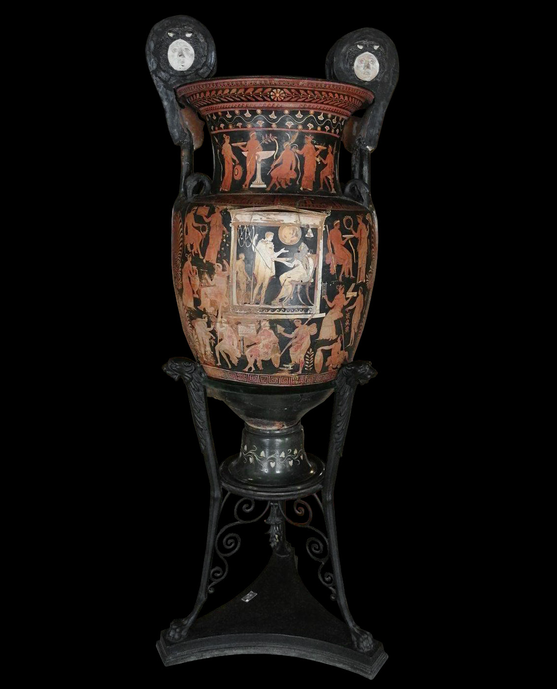 """So-called """"Vase of Patroclus"""", side B. Red-figured volute-krater. Apulia. Darius Painter. Clay. 340—320 BCE. Inv. No. 81954 (?). Naples, National Archaeological Museum"""