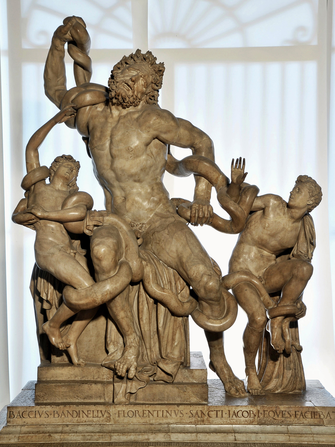 The Laocoon Group. Copy of the 16th cent. of the Vatican original of the 1st cent. BCE, with restoration of a missing parts. By Baccio Bandinelli (1493—1560). Carrara marble. 1520—1525. Florence, Gallery of Uffizi