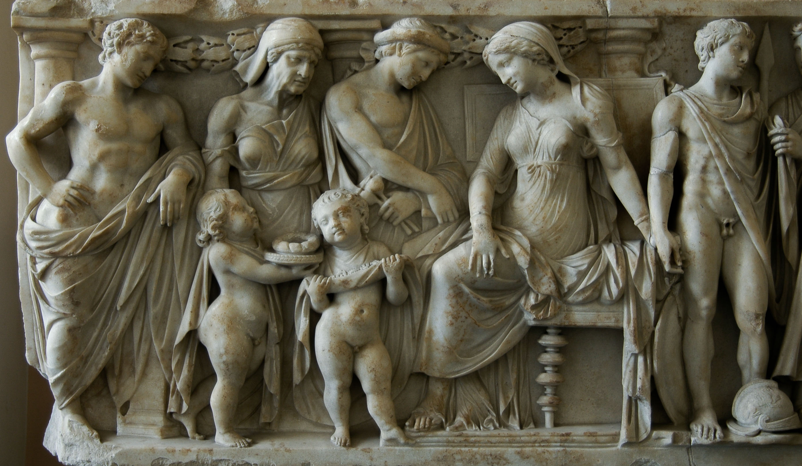 Scenes of the myth of Medea. Front panel of sarcophagus, left part. Greek marble. Mid-2nd cent. CE. Inv. No. Sk 843 b. Berlin, State Museums, Pergamon Museum