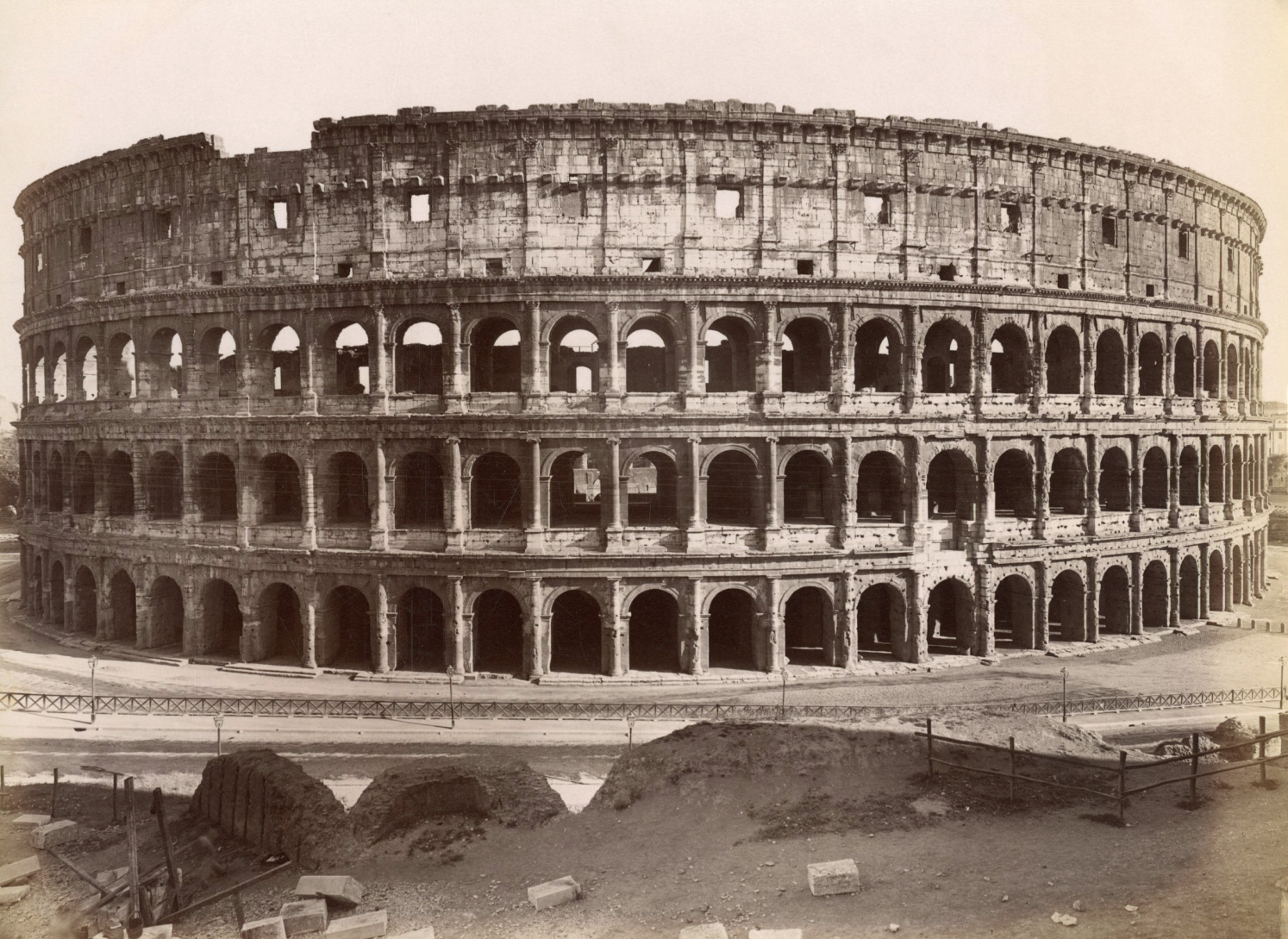 The Flavian Amphitheater, or the Colosseum, built by Flavius Vespasian and inaugurated by Titus in 80 CE.  Rome, Flavian Amphitheatre (Coliseum)