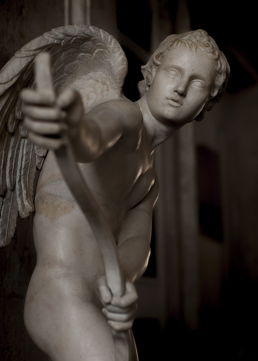 Eros stringing his bow. Marble. Roman copy after a Greek bronze original by Lysippos of the 4th century BCE. Inv. No. MC 410. Rome, Capitoline Museums, Palazzo Nuovo, Gallery